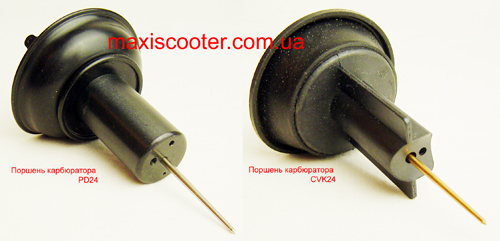 Тип карбюратора один а поршни верхних мембран - разные. PD24 vs CVK24